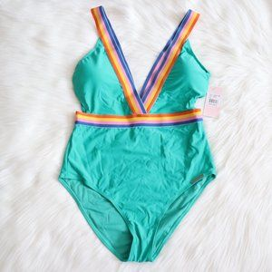 Juicy Couture Green Striped One Piece Sz L